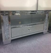 VENETIAN MIRRORED WITH CRUSHED CRYSTAL CORNER TV STAND, CORNER TV CABINET