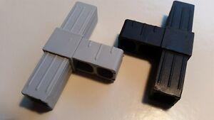 Verbinder T-Stück für Alu Vierkant 20x20x1,5mm - grau oder schwarz - 2 Stück