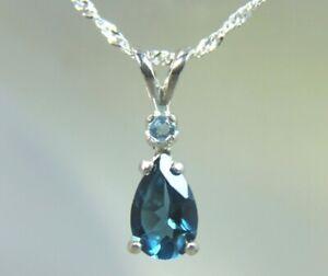 TOPAZ - Genuine London Blue Topaz 925 Sterling Necklace w/ Swiss Blue Topaz Acc!