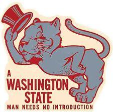 University of Washington State Cougars Man  Vintage Looking Travel Decal Sticker