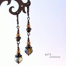 Ohrringe mit GLAS-KRISTALL-Perlen, Bronze-Vintage-Look, 0591
