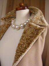 LADIES M&S wool cashmere COAT UK 16 14 long astrakhan fur collar retro camel 40s