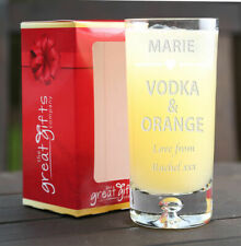 Personalised Engraved Boxed Vodka & Orange Glass Gift Birthday Xmas Heart