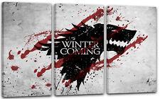 120x80cm Lein-Wand-Bild: Game of Thrones Winter is coming Stark grauer Hintergru