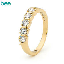 Simulated Diamond 9k 9ct Solid Yellow Gold Eternity Ring Size P 7.75 22004
