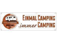 METALLSCHILD Shabby Blechschild EINMAL CAMPING IMMER CAMPING Geschenk Camper