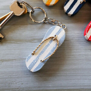 Light Blue Flip Flop Key Ring Hand Painted Wooden Party Bag Wedding Favours