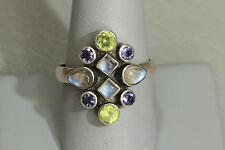 HSN Nicky Butler NB Sterling Silver 925 Moonstone Amethyst Peridot Cocktail Ring