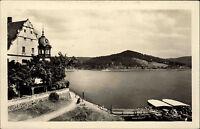 Saalburg an der Saale Thüringen alte DDR s/w Postkarte 1953 Partie am See Boote