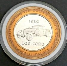 More details for las vegas $10 .999 fine silver gaming token imperial palace (l-29 cord)