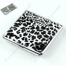 Fashion Leopard Pattern Pocket Leather Cigarette Tobacco Case Box Holder 20pcs y