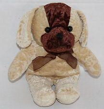 "A Mart PUPPY DOG 9""  Flower Embossed Plush Stuffed Tan Brown Stuffed Animal Toy"