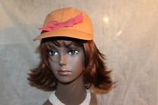 Vtg LADY 30s-40s PEACH BALL CAP W/ COLD WEATHER EAR FLAPS AND BOW 6 7/8