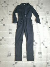 Free People Black Long Sleeve Coverall Jumpsuit Belted Half Button Size 2