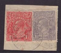 South Australia postmark on KGV 1½d and 3d piece