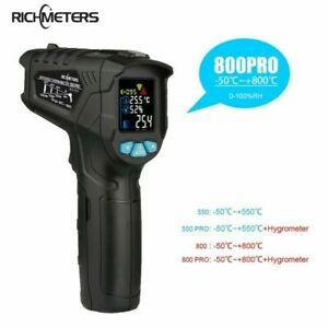 550℃/800℃ Non-Contact Digital LCD infrared Thermometer gun +Humidity RICHMETERS