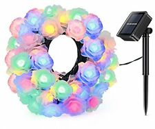 Solar String Light Magicfly 50 Led Rose Flowers Lights Outdoor Waterproof Fairy