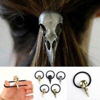 1Pc Women Halloween Silver Crow Skull Hair Tie Holder Punk Gothic Birds Elastic