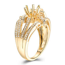 18k Yellow Gold Real SI/H Diamond Semi Mount Prong Setting 6mm to7mm Round Ring