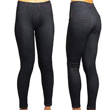 New Womens Denim Look Jeggings Leggings Slim Skinny Stretch Plus Size 8-16