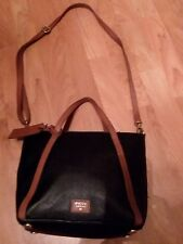 FOSSIL Black Coated Canvas W/Brown Trim Tote Shopper Convertible Messenger