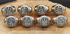 Silver Men Ring Eight Buddhist Deities Of Twelve Zodiac Patron Saint Vintage