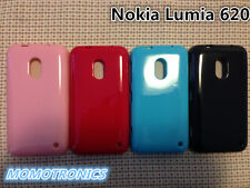 PINK Nokia Lumia 620 Slim Soft Silicone Rubber Gel Back Cover Case