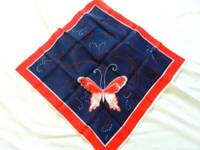 """Womens Scarf NWOT Butterfly Patriotic Red White Blue 21"""" Sq 100% Silk"""