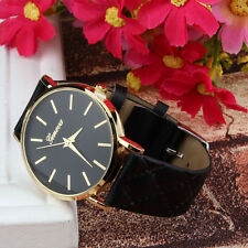 New Unisex Geneva Watch Classic Checkers Leather Quartz Analog Wristwatch Montre
