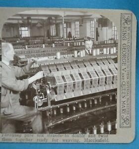 Scarce 1905 Stereoview Photo Industrial Social History Silk Weaving Macclesfield
