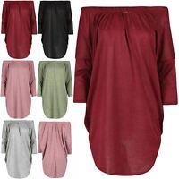 Womens Ladies Mark Knit Off Shoulder Bardot Batwing Curved Hem Mini Shirt Dress