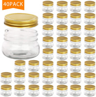 40 Pack - 5 oz Wide Mouth Mason Jars,Clear Glass Jars with Lids(Golden)