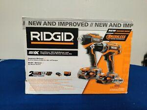 Ridgid Cordless 18V Brushless Drill/Driver + Impact Driver + 2 Battery Kit R9603