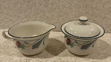 Vintage 1984 Lenox China POPPIES ON BLUE Sugar Bowl With Lid And Creamer Set USA