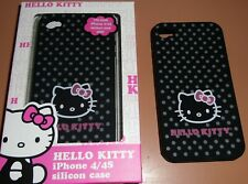 Hello Kitty Silicone Skin Soft Case for Apple iPhone 4/4s, Black with Print, NEW