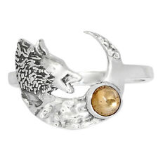 Wolf & Crescent Moon - Citrine 925 Sterling Silver Jewelry Ring s.8.5 Br3973