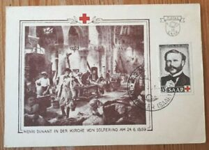 1953 Saar Germany Postcard With Stamp  - Henri Dunant - h/s Dudweiler, Saar