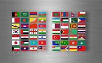 Planche autocollant sticker drapeau pays rangement classement timbre asie