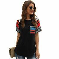 Floral Tops Elegant Short Sleeve V Neck Blouse T-Shirt Jumper New Top Solid