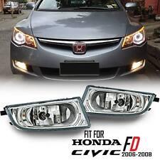 Chrome Driving Fog Spot Light Lamp Clear Len Kit Honda Civic FD SEDAN 2006-2011