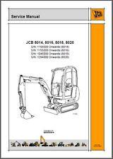 JCB 8014 8016 8018 8020 Mini Excavator Service Repair Workshop Manual CD