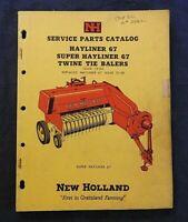 "1960 NEW HOLLAND ""SUPER & HAYLINER 67 TWINE-TIE BALER"" PARTS CATALOG MANUAL NICE"