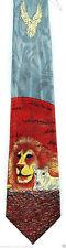 Lion Lamb & Dove Men's Necktie Bible Christian Religious Animal Gray Neck Tie