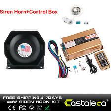 400W 8 Sound  Car Warning Alarm Police Fire Siren Horn PA Speaker MIC System Set