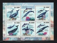 St. Thomas & Prince 2009 Dolphins Whales Grey Right Sperm Killer Mnh Sc 2182