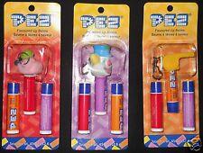 Pez Lip Balm Keychain Clip Fruit Flavour Lot 3 Clown Bubbleman Whistle New Rare