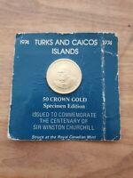 1974 Turks & Caicos Islands 50 Crown Gold Specimen Edition C-310 / M