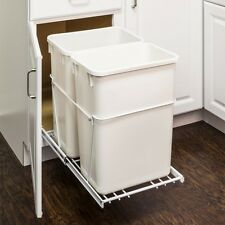 White Double-Trash Can Pull-Out System with 2- 35 Qt. White Cans
