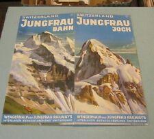 1953 Wengernalp and Jungfrau Railways Switzerland Travel Brochure Color Mountain