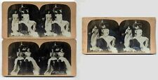 """Lot of (3) Female c1901 RISQUE STEREOVIEWS-""""Midnight Raid on The Pantry"""" Nudie"""